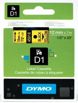 Лента D1 (пластиковая, черный на желтом)