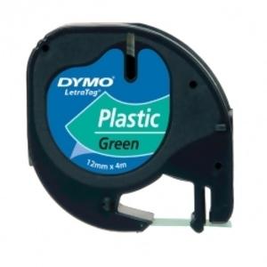 Лента Dymo [S0721640] для принтера Letratag (пластик, черный на зеленом, 12 мм, длина 4 м)