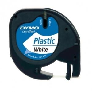 Лента Dymo [S0721610] для принтера Letratag (пластик, черный на белом, 12 мм, длина 4 м)