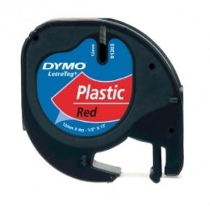 Лента Dymo [S0721630] для принтера Letratag (пластик, черный на красном, 12 мм, длина 4 м)