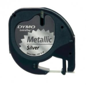Лента Dymo [S0721730] для принтера Letratag (пластик, черный на серебристом металлике, 12 мм, длина 4 м)