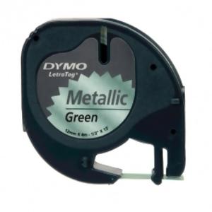 Лента для LetraTag (пластиковая, черный на зеленом металике)