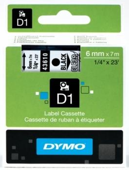Лента D1 (пластиковая, черный на прозрачном)