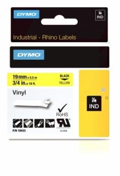Виниловая лента 19ммx5.5м (черный на желтом)