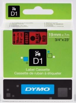 Лента Dymo D1 [S0720870] для принтеров серии Label Manager (черный на красном, 19 мм, длина 7 м)