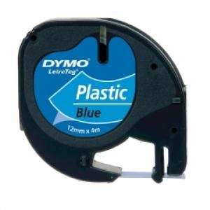Лента Dymo [S0721650] для принтера Letratag (пластик, черный на синем, 12 мм, длина 4 м)