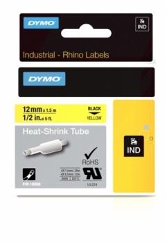 Картридж с термоусадочной трубкой  12ммx1.5м (черный на желтом)