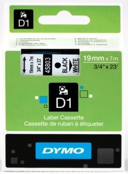 Лента Dymo D1 [S0720830] для принтеров серии Label Manager (черный на белом, 19 мм, длина 7 м)
